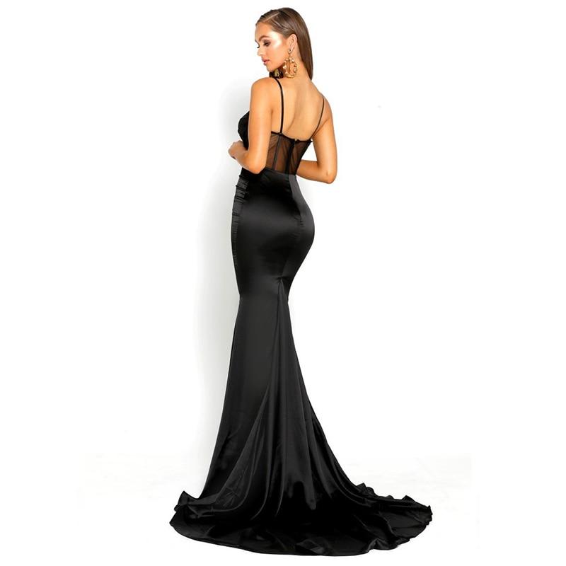 2019 Elegant V Neck Backless Hollow Out Patchwork Mermaid Dress Black Maxi Dress