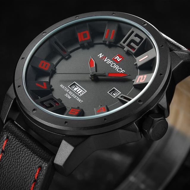bf9f27a8a Men Watches NAVIFORCE Brand Military Reloj Quartz Analog 3D Face Leather  Army fashion Clock Sports Watch