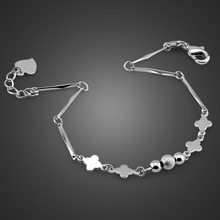 High quality exquisite sterling silver bracelet. Fashion solid 925 heart-shaped Simple elegant woman jewelry