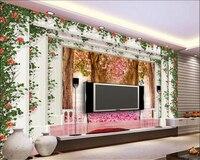 Beibehang Papel De Parede 3d European Style 3D Cherry Tree Stereo Roman Column TV Background Wall