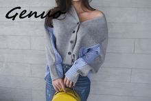 Genuo 2019 New Korean Style Women Sweater Autumn and Winter V-neck Ladies Stripes Loose Wild Clothing