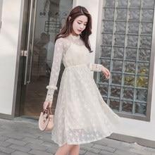 7ae29e136 Otoño y el invierno de albaricoque vestido de encaje Rosa nuevo coreano de  moda de las