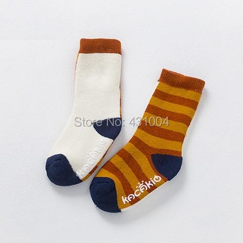 Kacakid new childrens socks baby fashion wide striped terry socks boy girls anti-skid thickening winter socks