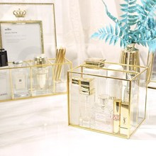 Classic European Glass Makeup organizer with Golden Covered Edge Bathroom Makeup Organizer make up