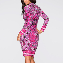 Women Chinese Style Long-sleeved Dress Autumn Bodycon Floral Print Knee Length Elegant Pencil Dress