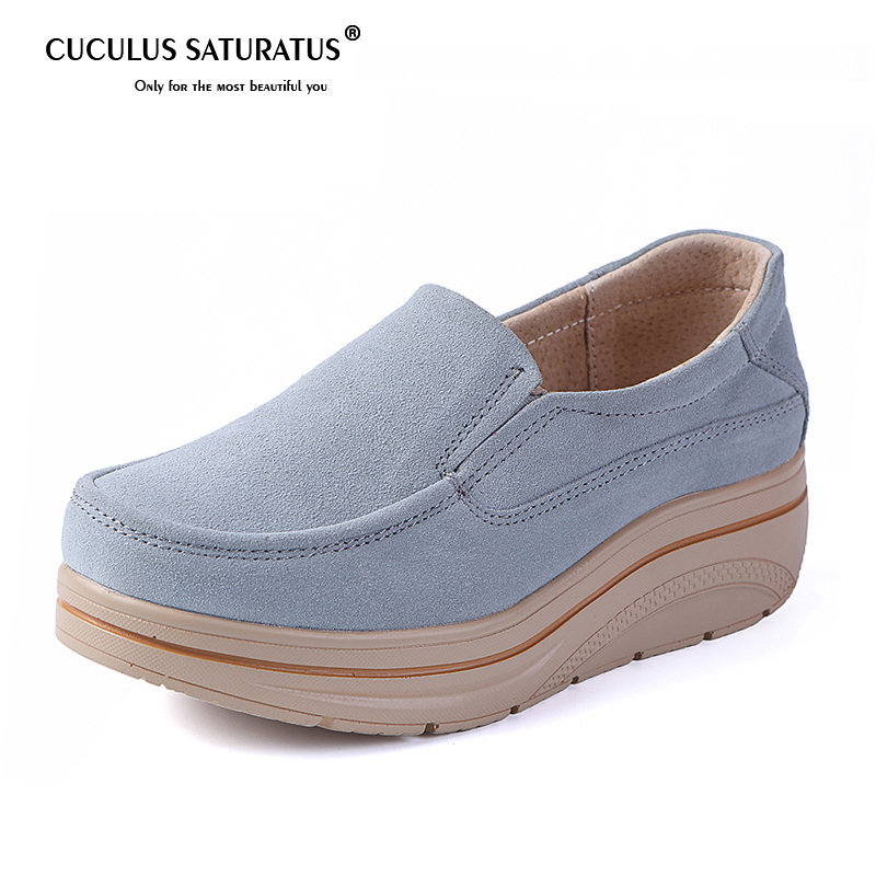 Cuculus Big Size Flats Shoes Women   Suede     Leather   Slip on Moccains Round Toe Ladies thick sole casual shoes women Sneaker Creeper