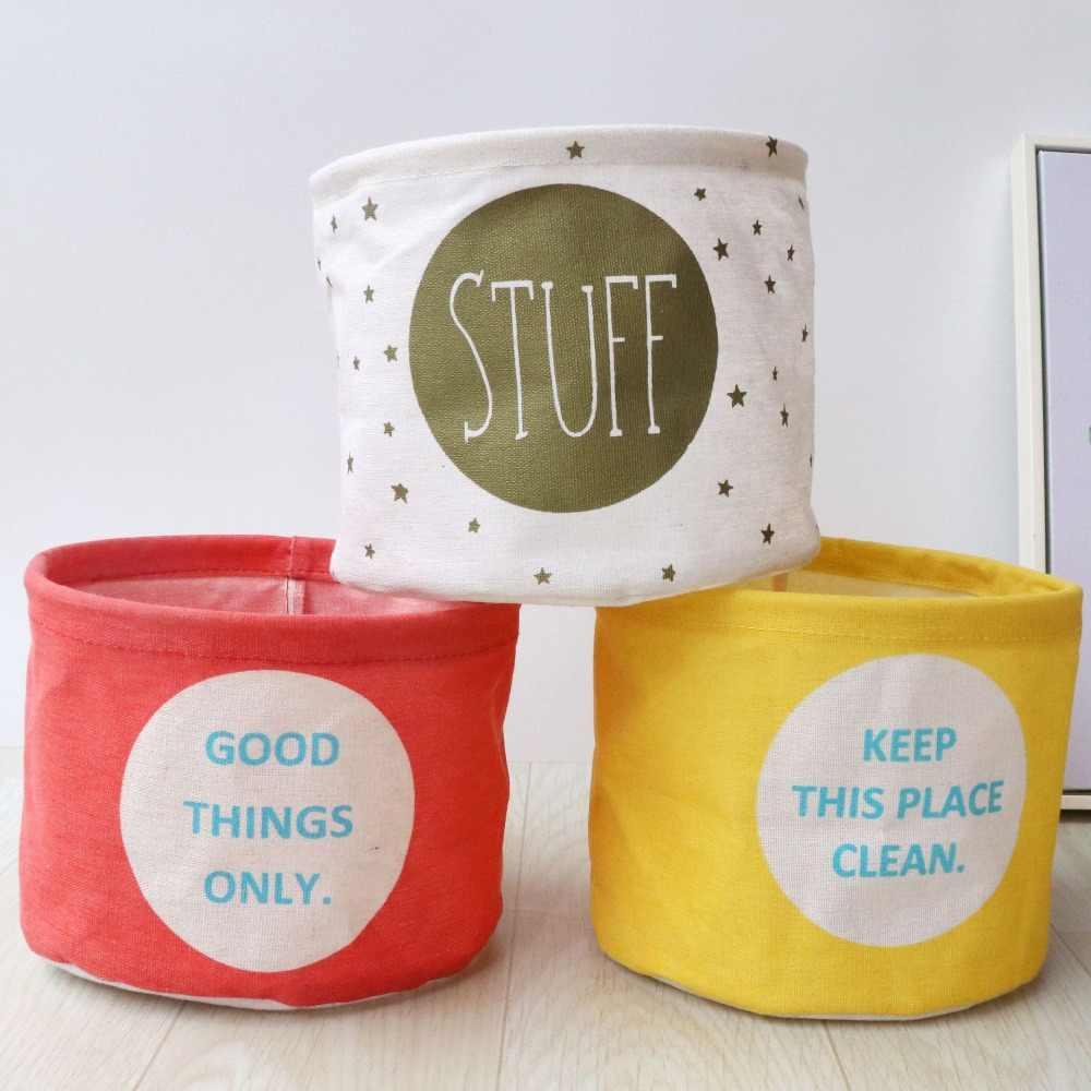 Nova algodão e linho de desktop organizador de maquiagem à prova d' água dobrável caixa de armazenamento de alimentos cesta de armazenamento de brinquedos para crianças Compõem Caixas