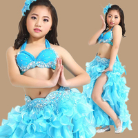 Top Grade Children Belly Dancing Clothes 3 Piece Oriental Outfit Bra Belt Skirt Girls Belly Dance