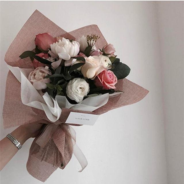 Online Shop Korean Style Linen Flower Wrapping Paper Flowers Bouquet ...