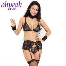 4d3444cba6d56 Ohyeahlover Women Lace Open Bra Sets with G-string+Garter+Handcuffs Ultra  Thin