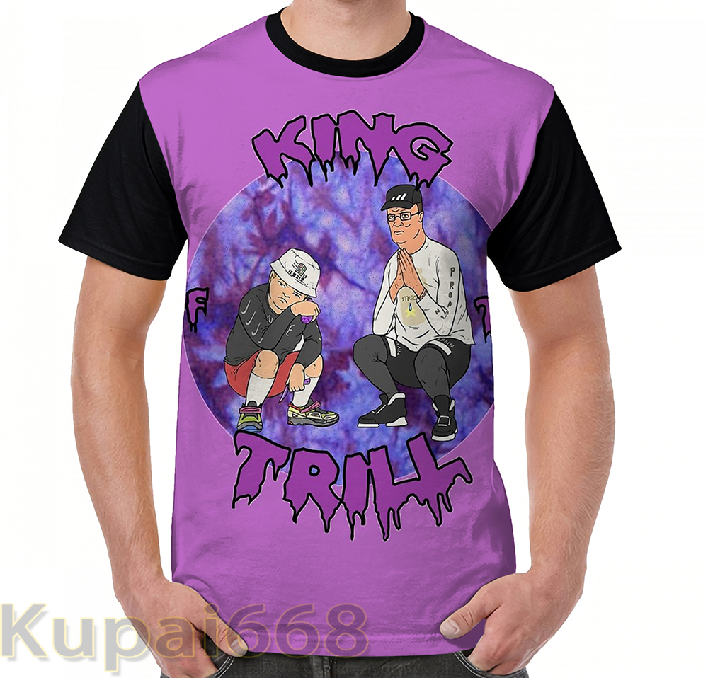 Gráfico engraçado imprimir camiseta homens Cobre t Rei do Trill tshirts das mulheres T-Shirt de Manga Curta Casuais