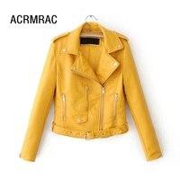a57872a10 Women Jacket Slim Spring Autumn Coat Long Sleeve Solid Color PU Jacket  Woman. US $49.00 US $41.65. Mulheres jaqueta casaco Fino primavera Outono  Mulher ...