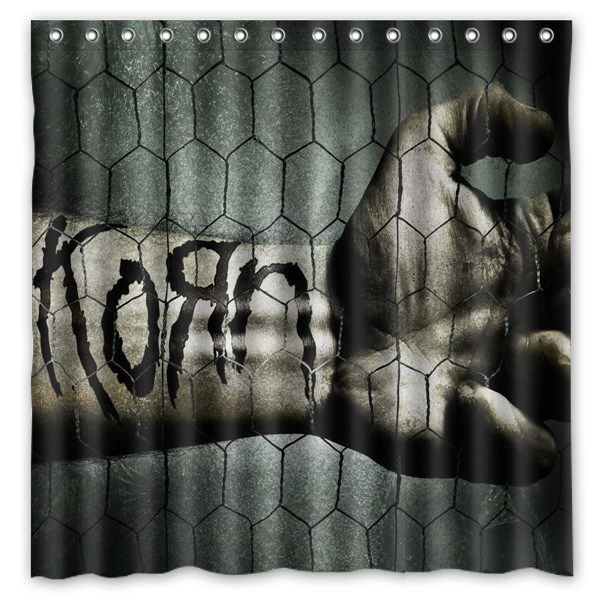 Korn Band Printed Polyester Shower Curtain Waterproof Home Bathroom Curtains With 12 Hooks 180x180CM