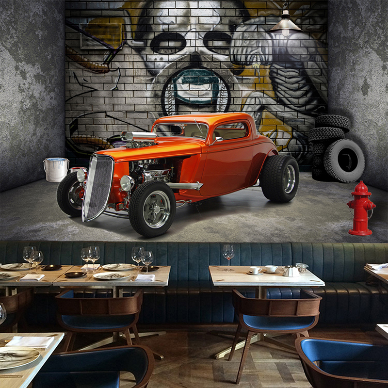 Custom 3D Wall Murals Wallpaper Creative Stereoscopic Space Car Skull Street Graffiti Art Restaurant Background Wall Painting