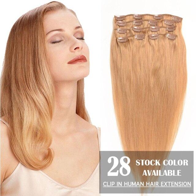 """20 """" ( 50 cm ) Clip en Remy de la virgen extensiones de cabello humano 70 g/set 28 colores disponibles Virgin pelo brasileño Clip en extensiones de cabello"""