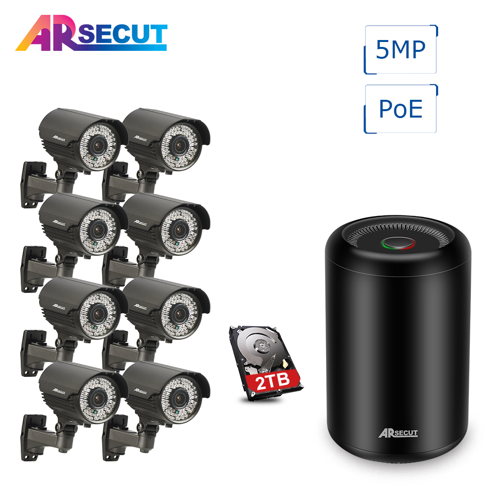 ARSECUT 8CH 5MP HD POE Seurity Camera System Waterproof 1920P 78 IR Leds Night Vision Video Surveillance System 2TB HDD hbss 4ch 1 0m hd 2tb hdd poe ip66 waterproof motion detection 1280 720p ir night vision outdoor mult lang surveillance system