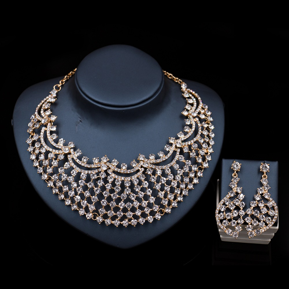 Lan Palace High Quality Wedding Jewelry Sets For Bride Necklace And Earrings  Austrian Crystal Necklace African