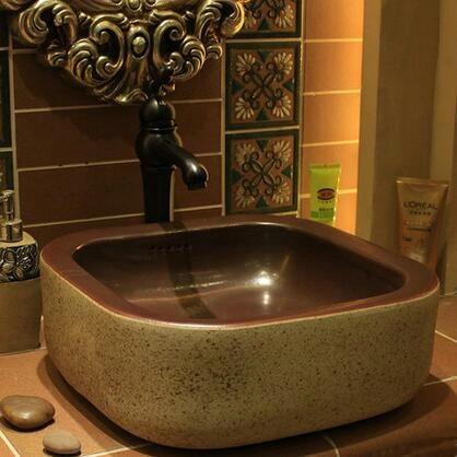 hecho a mano estilo primitivo de piedra como la porcelana encimera lavabo bao lavabo lavabo