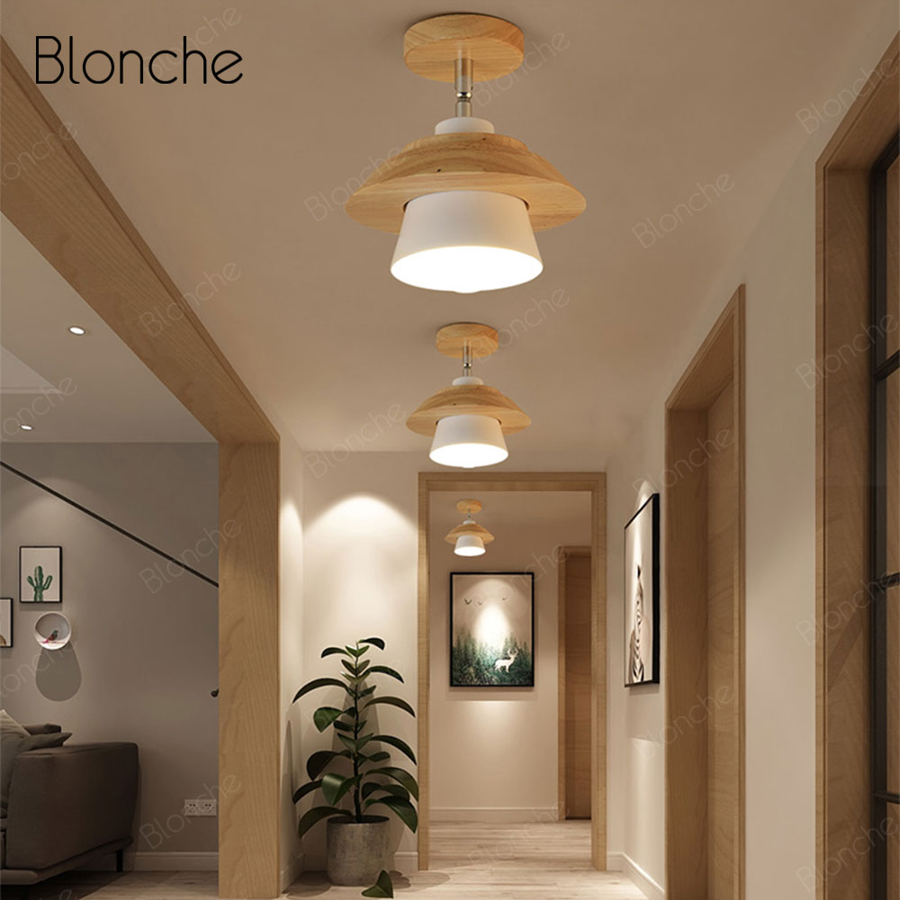 modernas luzes teto nordic rotativo madeira 04