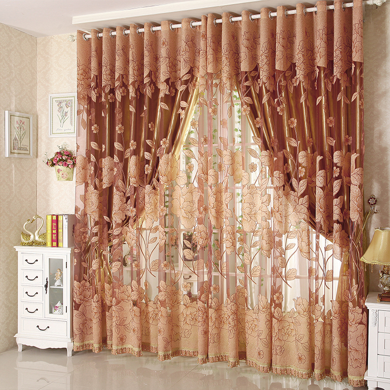 Buy Luxury Tulle For Windows Curtain Jacquard Embroidered Volie Sheer Blackout
