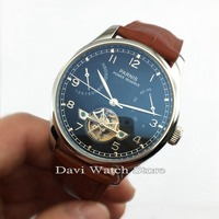 Parnis 43mm Luxury Black Dial Power Reserve Chronometer Flywheel Automatic Movement Date Men's Watches