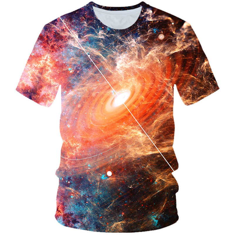 T-Shirt Boys Universe Girls Fashion Children Space 3D Harajuku Sunrise Colorful Galaxy