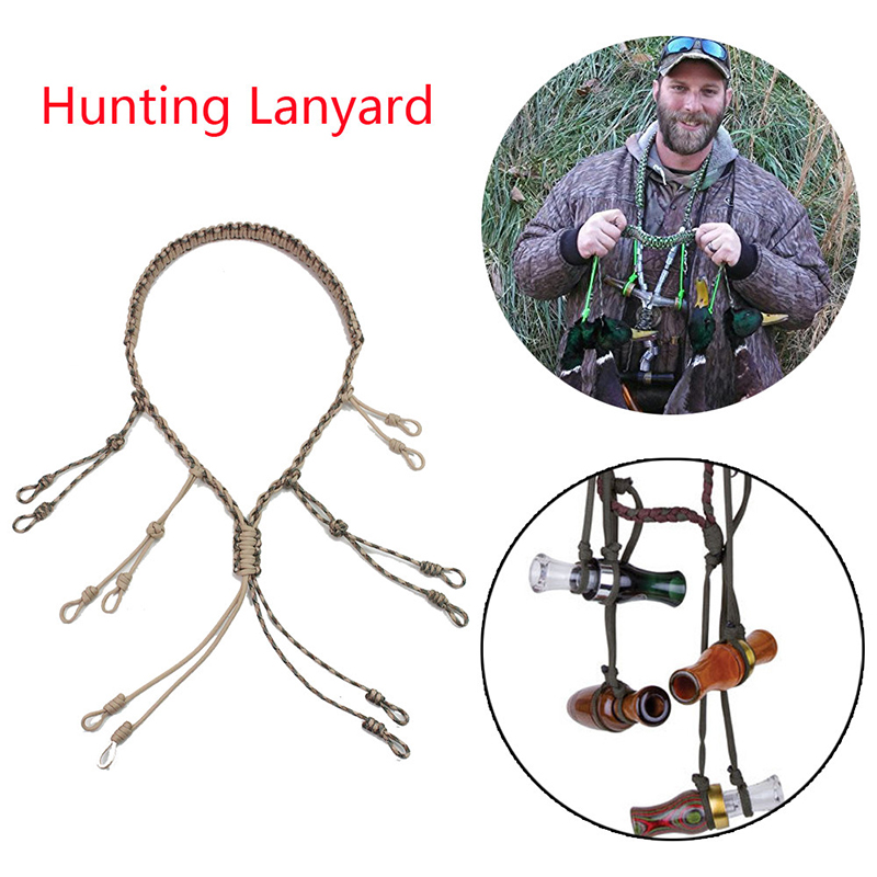 Duck Call Lanyard Adjustable Hand Braided Camo Whistle Lanyard 550 Paracord For Hunting Camping Hiking Portable Outdoor Tool