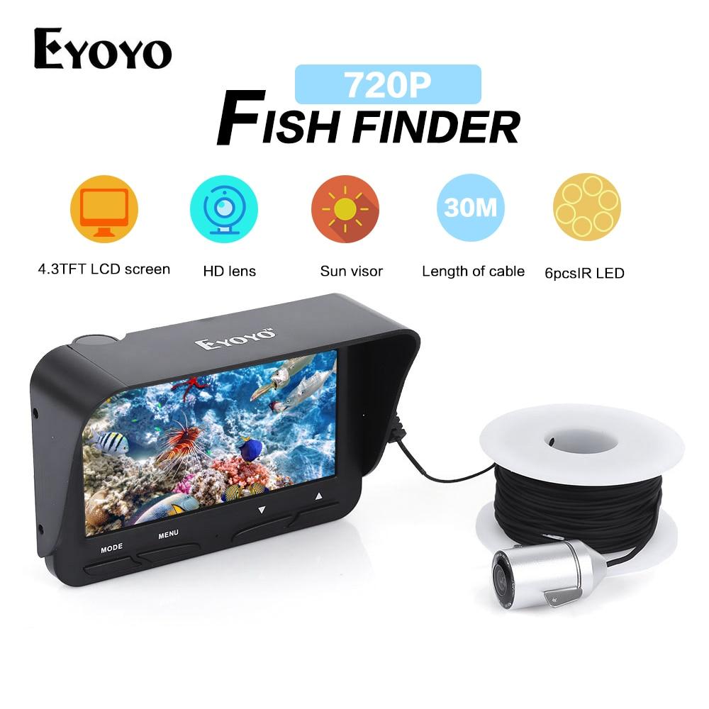 Eyoyo 30M 720P Fish Finder Underwater Camera for fishing Night Vision Ice Fishing Camera 6 Infrared LED 4.3 Inch LCD Monitor eyoyo 1000tvl ice fishing underwater camera 15m 4 3 inch lcd monitor 8 led night vision camera fish finder