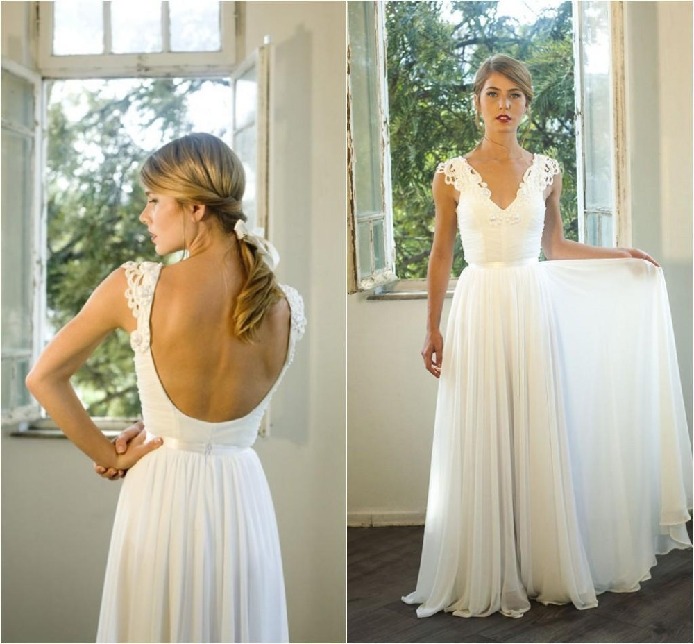 b82436c910390 2015 White Beach Long Wedding Dresses Uk With Lace Applique Summer A Line  Chiffon Backless Bridal Gowns Fashion designer