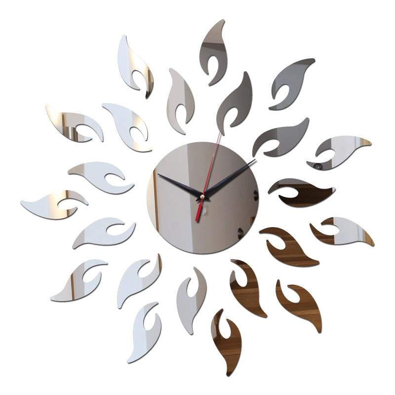 Новое поступление DIY Прямая поставка зеркало солнце акриловые часы настенные часы 3D home decor кристалл нескольких частей посылка кварцевые час... ...