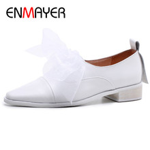 ENMAYER Brogue Shoes Woman Black White Round Toe Lace-up Flats Lace Charms Big Size 34-43 Shallow Female
