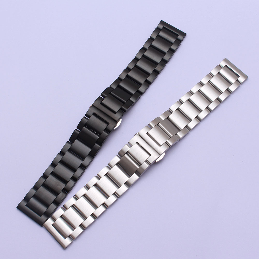 22mm Matte Stainless steel Watchband Unpolished Watch accessories Fit Samsung Gear S3 wristbands men watch band straps bracelets