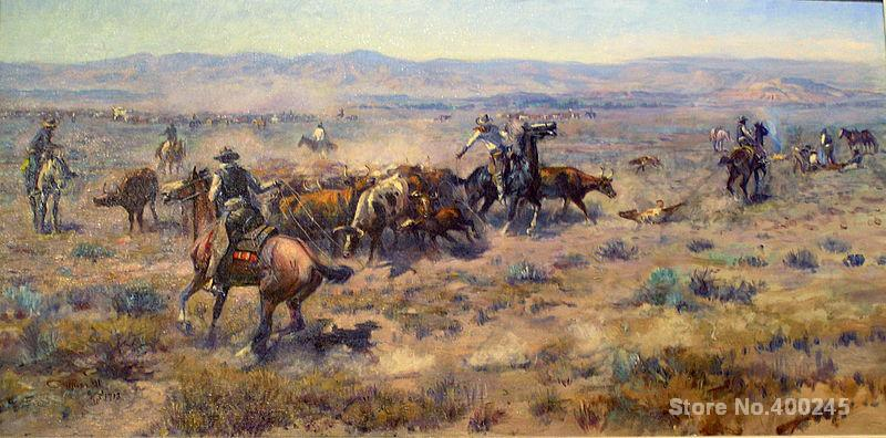 oil Painting cowboys Roundup by Charles Marion Russell canvas art High quality
