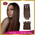 Clipe em conjuntos Yotchoi produtos 10 pcs grampo em extensões de cabelo humano em linha reta 2 # castanho escuro cor 6A grau extensões de cabelo humano