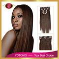 Yotchoi clip en establece productos 10 unids clip en extensiones del pelo humano recto 2# color marrón oscuro grado 6A extensiones de cabello humano