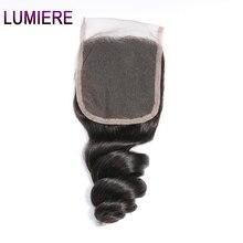 Lumiere Hair Peruvian Loose Wave Hair Closure 4*4 Lace Closure 130% Density Free Part Human Hair One Pc Remy Hair Natural Color