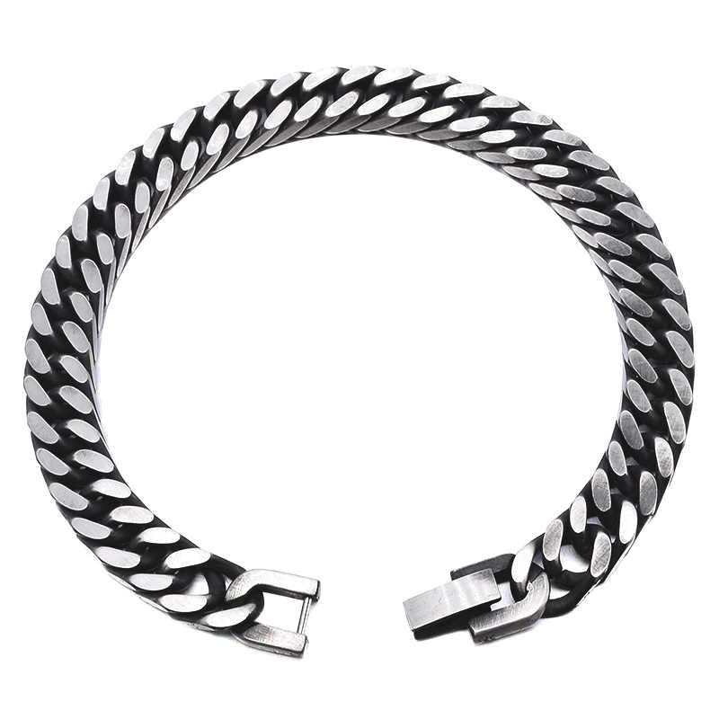 GOKADIMA 2018 w nowym stylu antyczne wykończone łańcuch ze stali nierdzewnej biżuteria bransoletka męska Party prezent na Boże Narodzenie