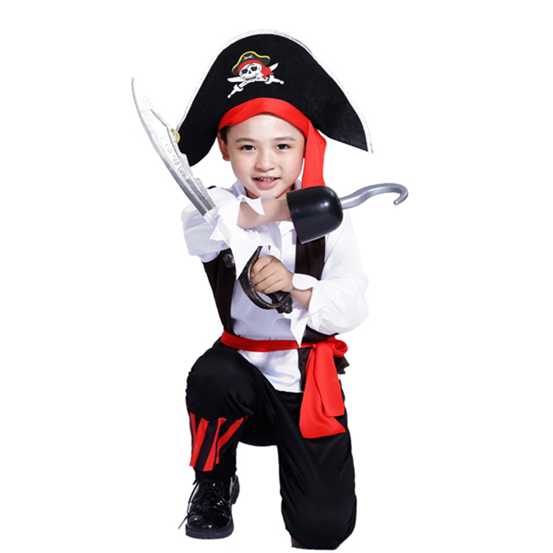 Halloween Pirate Cosplay Suit Domineering Boy Pirate Costume Set With Pirate Knife And Pirate Hook For 4-6 Years Old - M L XL