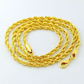 Luxury 24K Gold Twisted Chain Men Women Jewelry Iced out Jewelry 2016 Cuban Punk Style 3MM 4MM 5MM Full Size for Your Choice earrings