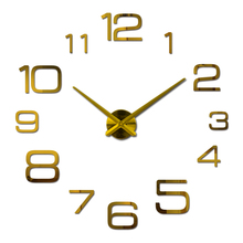 hot sale Diy acrylic mirror large wall clock quartz watch modern clocks living room home decoration silver number 3d stickers