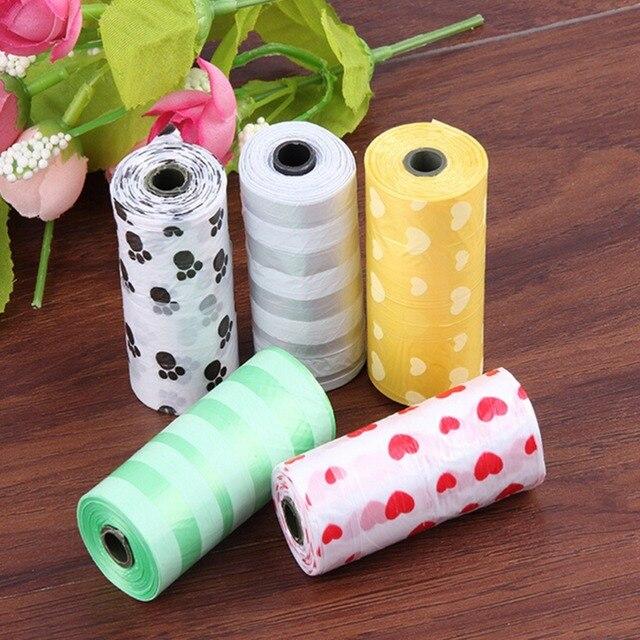 Hot sale 1Roll=15PCS Degradable Pet Dog Waste Poop Clean Poop Bag With Printing Doggy Bag Multi-color