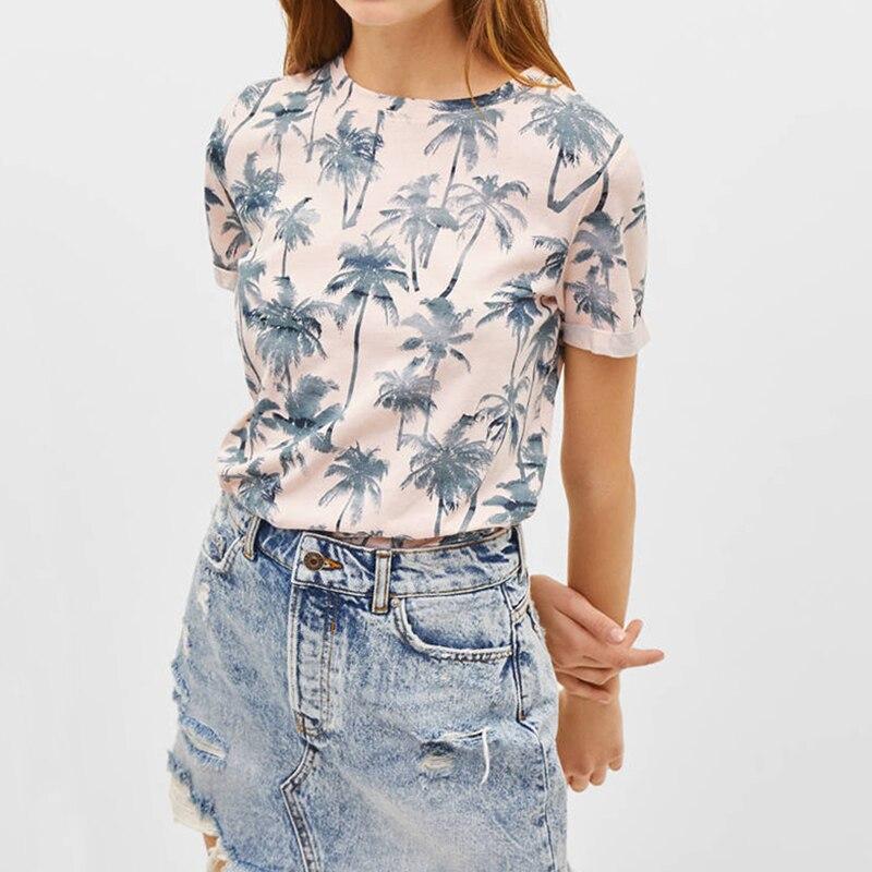 2019 nueva Camiseta de verano con estampado Floral para Mujer, Camiseta básica rosa de manga corta, Camiseta Casual de estilo playero para damas, Camiseta Mujer