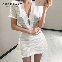 Cheerart Deep V Neck Sexy Dress Women Bodycon Summer Knitted Sweater White Ladies Mini Tight Dress 2018