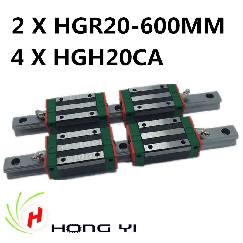 Linear rails HGR20, 2pcs HIWIN Carril Linear Rail 600mm + 4pcs Rail Linear Block HGW20CA HGH20CA for CNC 2pcs hiwin carril linear rail 800mm linear rails hgr20 4pcs rail linear block hgw20ca hgh20ca for cnc