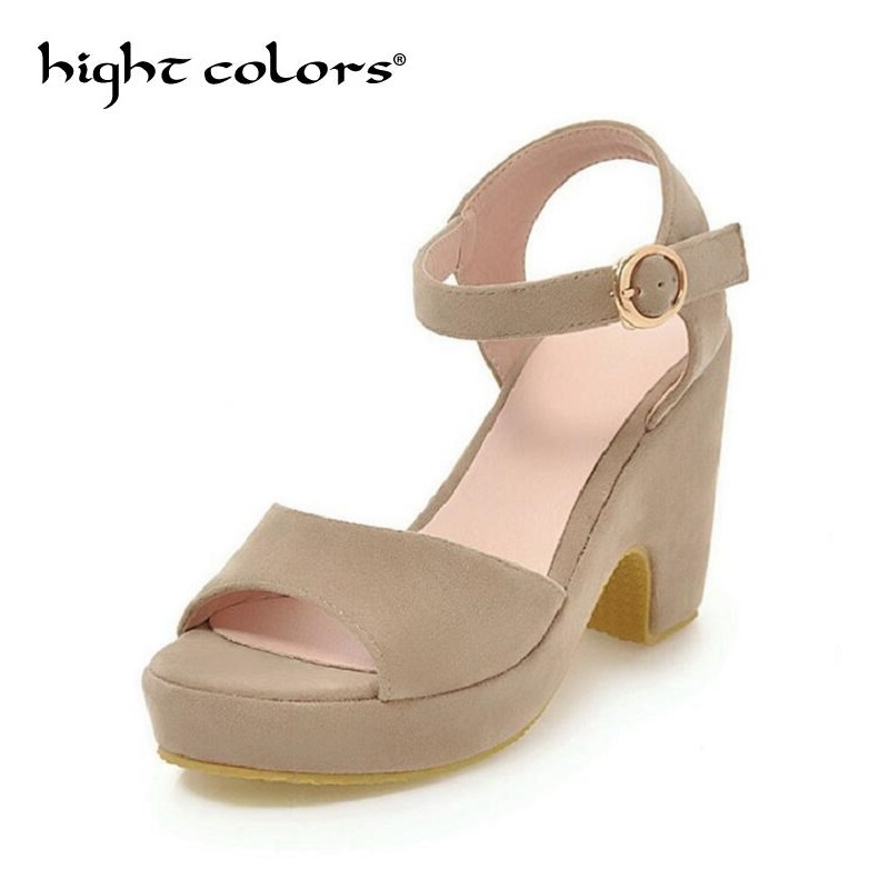 Fashion Women Sandals Summer Shoes Wedges Open Toe Thick Heel Mujer Flock Women Platform Sandals High-Heeled Shoes Woman msfair women square toe wedges sandals fashion butterfly crystal high heels woman sandals 2018 new summer women high heel shoes