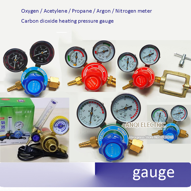 Copper Oxygen Acetylene Propane Argon Nitrogen meter Reducer Pressure reducing valve Carbon dioxide heating pressure gauge automotive light bulb
