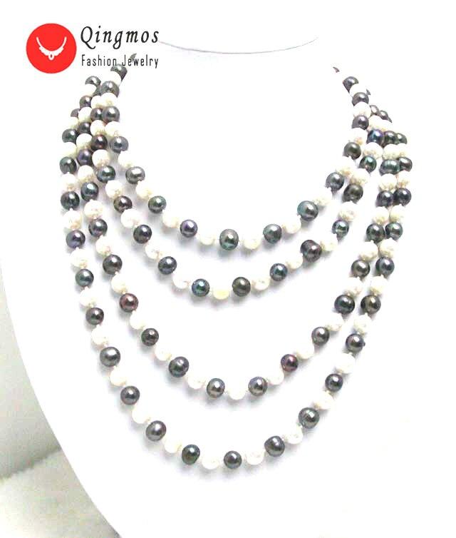 Qingmos collier de perles naturelles à la mode pour les femmes avec 6-7mm rond blanc et noir perle 80