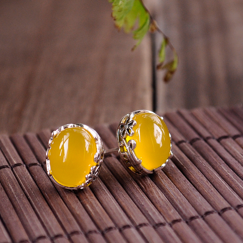 female Handmade 925 Sterling silver Natural semi precious stones yellow chalcedony Retro hollow flowers pattern Earrings