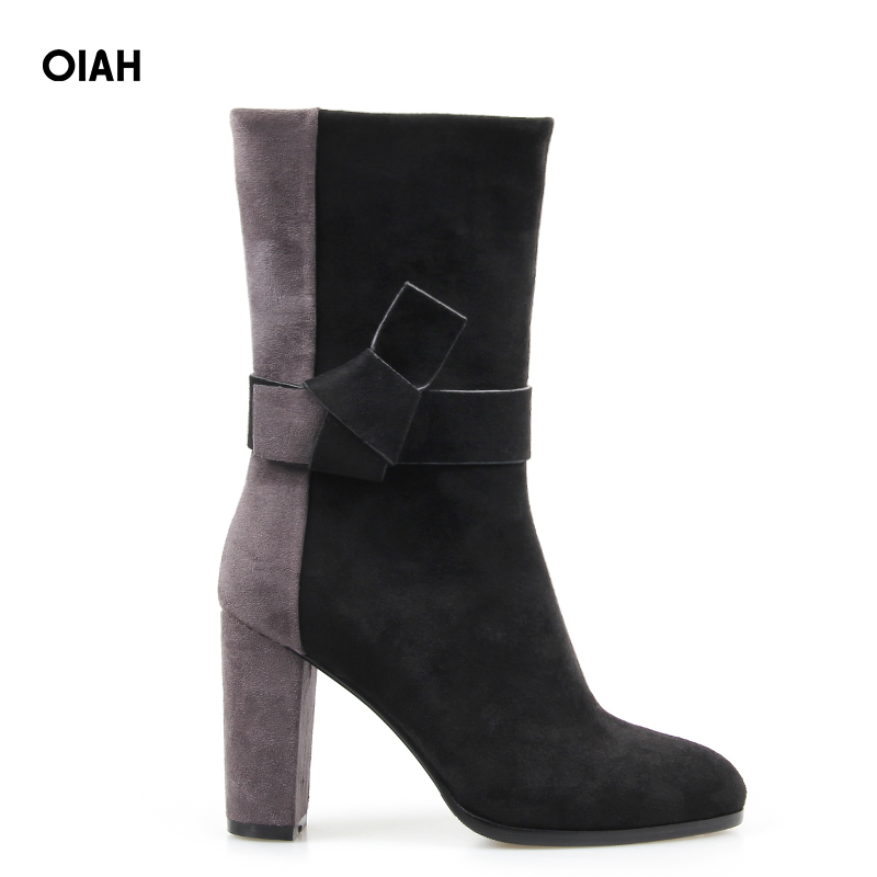купить Ankle Boots for Women Flock Pointed Toe Square Heel Patchwork Winter High Heel Boots Zip Short Boots Fashion Warm Femme недорого