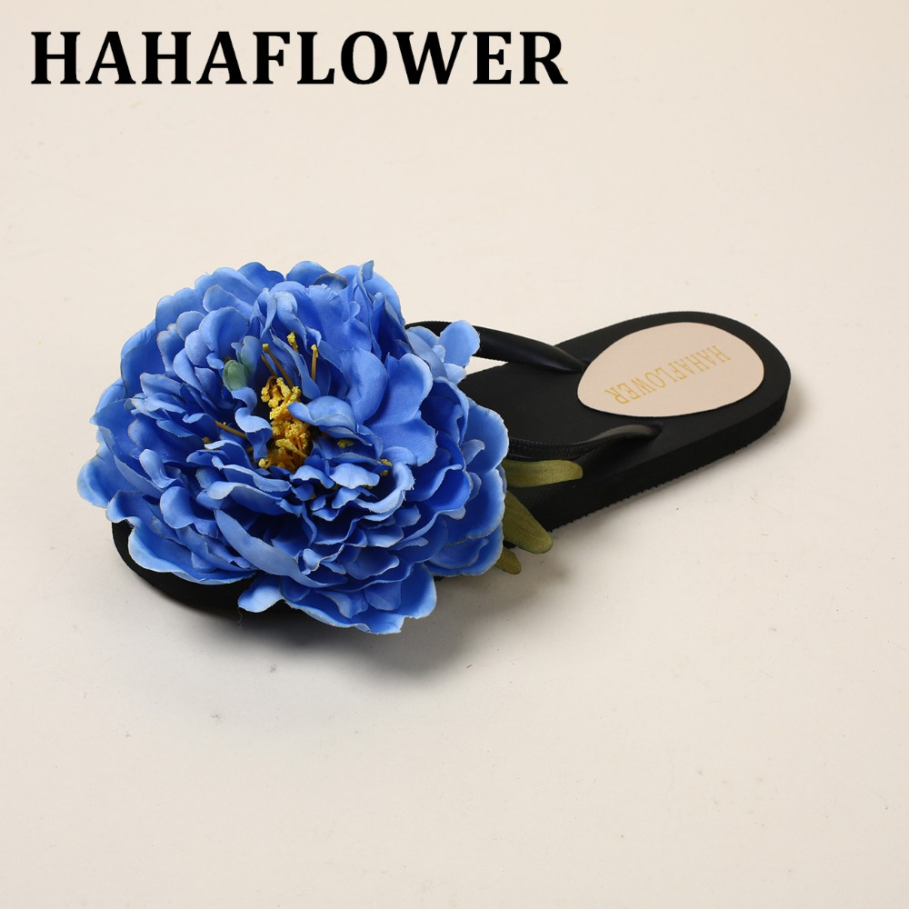 3ae67d572eb18e HAHAFLOWER Princess Outdoor Flip Flop Sweet Big Flower Slide Girls  Women s  Shoes Flat Heel Fashion Slipper Sandals Beach Shoes